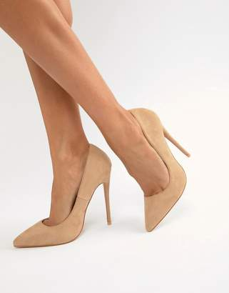 PrettyLittleThing faux suede high heeled court shoe in camel