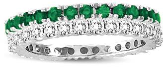 LeVian Suzy Diamonds Suzy Set Of 2 14K 1.16 Ct. Tw. Diamond & Emerald Eternity Rings