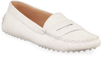 Tod's Python-Embossed Suede Gommini Loafers