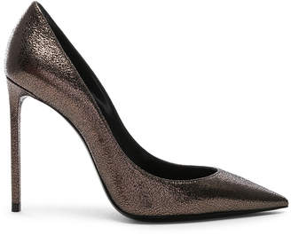 Saint Laurent Zoe Pumps in Gunmetal | FWRD