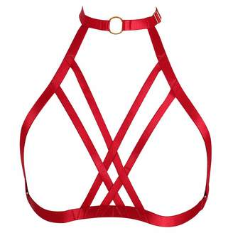 602b9845c4 BANSSGOTH Strappy Body Harness Red Hollow Out Cross Bra Lingerie Cosplay  Plus