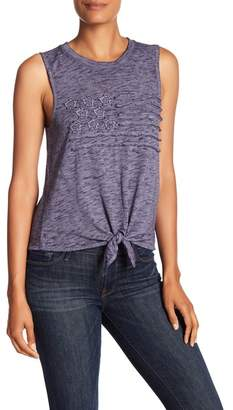 Lucky Brand Flag Tie Front Tank