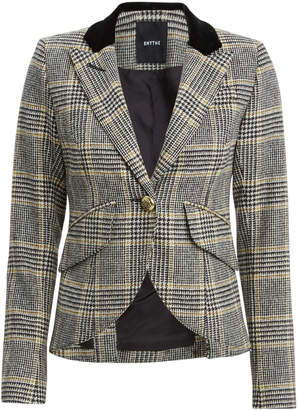 Smythe Check Print Single Button Blazer