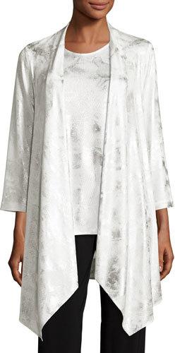 Caroline RoseCaroline Rose Silver Cloud Drape-Knit Cardigan, White/Silver, Plus Size