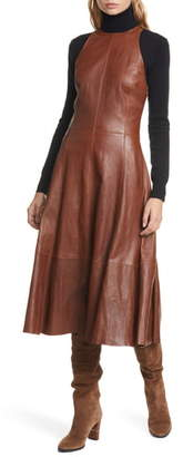 Polo Ralph Lauren Leather Sleeveless Fit & Flare Dress
