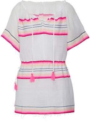 Lemlem Tasseled Striped Cotton-Blend Gauze Coverup
