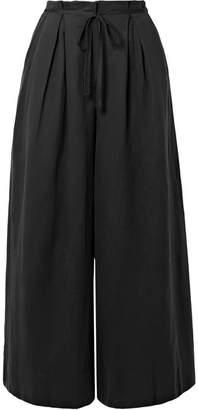 Ulla Johnson Sylvie Pleated Tencel, Linen And Cotton-blend Twill Culottes - Black