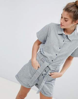 Pull&Bear Pocket Detail Denim Playsuit In Grey