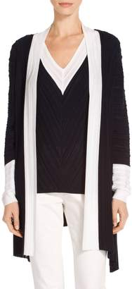 St. John Welted Plisse Knit Waterfall Cardigan