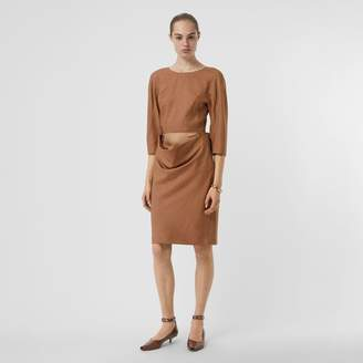 Burberry Double-waist Wool Silk Mohair Linen Dress