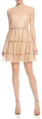 Halston Tiered Back Strap-Detail Mini Dress