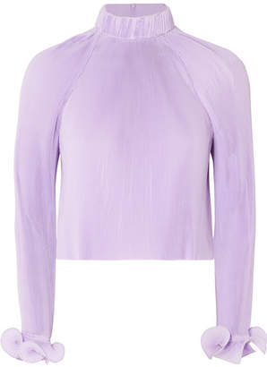 Tibi Cropped Pleated Chiffon Top - Lavender