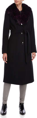 MICHAEL Michael Kors Real Fur Collar Belted Long Coat