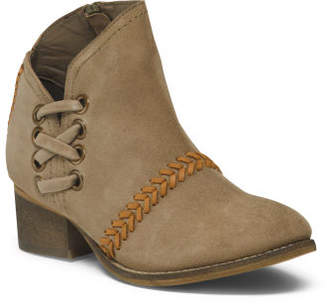 Side Lace-up Suede Booties