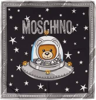 Moschino Spaceship Bear Silk Square Scarf
