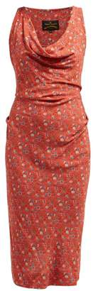 Vivienne Westwood Anglomania - Virginia Floral Print Jersey Dress - Womens - Red