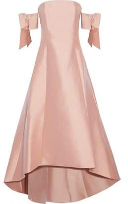 Sachin + Babi Bengaluru Off-The-Shoulder Bow-Embellished Duchesse Satin-Twill Gown