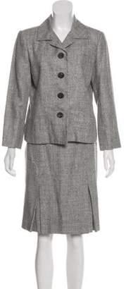 Oscar de la Renta Silk & Wool & Linen-Blend Skirt Suit grey Silk & Wool & Linen-Blend Skirt Suit