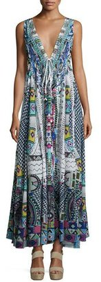 Camilla Embellished Crepe V-Neck Maxi Coverup Dress, Maasai Mosh $800 thestylecure.com