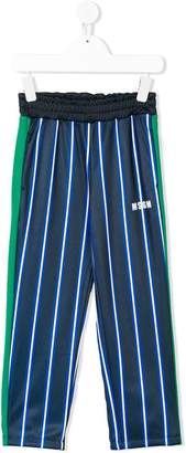 MSGM Kids striped logo trousers