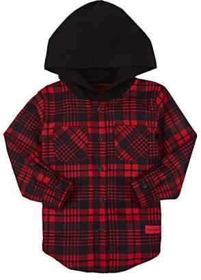 Haus of JR Kids' Plaid Cotton Flannel Hooded Shirt