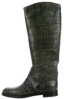 Gucci Alligator Knee-High Boots