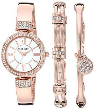 Anne Klein Women's AK/3294RGST Swarovski Crystal Accented -Tone Bangle Watch and Bracelet Set