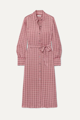 Equipment Rosalee Checked Silk-blend Satin Midi Dress - Pink