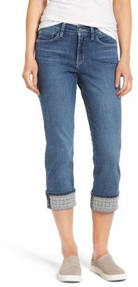 Women's Nydj Dayla Embroidered Wide Cuff Capri Jeans $98 thestylecure.com