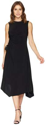 Taylor Jewel Neck Solid Side Ruched Jersey Dress Women's Dress