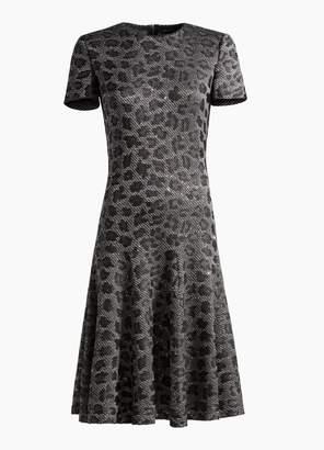 St. John Sequin Animal Jacquard Knit Dress