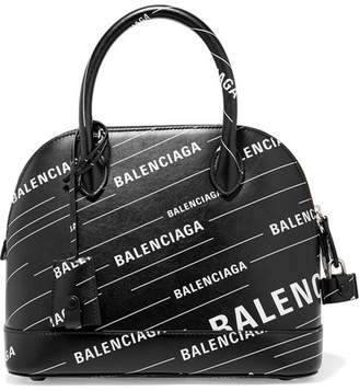 Balenciaga Ville Printed Leather Tote - Black