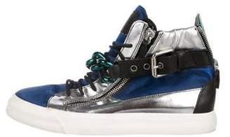 Giuseppe Zanotti Satin Chain-Accented Sneakers