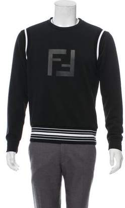 Fendi Leather-Accented FF Logo Sweatshirt