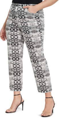 ELOQUII Snake Print Stretch Cotton Jeans