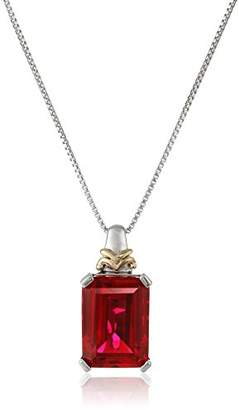 Sterling Silver and 14k Yellow Gold Emerald-Cut Created Ruby Pendant Necklace