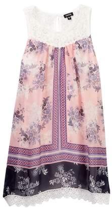 Zunie Crochet Contrast Printed A-Line Dress (Big Girls)