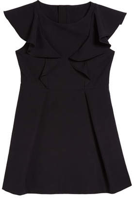 Milly Short-Sleeve Ponte Ruffle Dress, Size 7-16