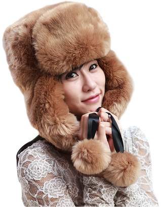 22f44b42223 GIANCO FERRO Women Faux Fur Trapper Hat Winter Russian Aviator Hat with Ear  Flap