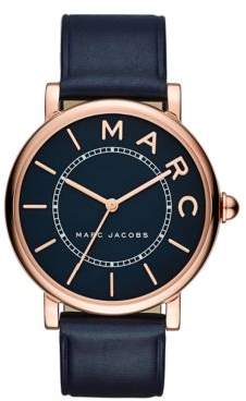 Marc Jacobs Classic Rose Goldtone Stainless Steel and Leather Three-Hand Strap Watch