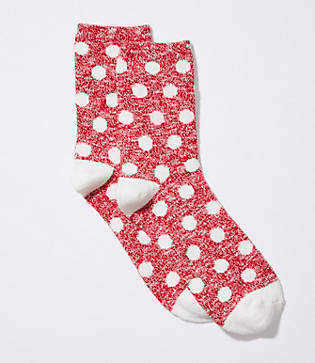 LOFT Polka Dot Crew Socks