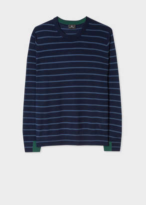Paul Smith Men's Navy Thin Stripe Merino Wool Sweater