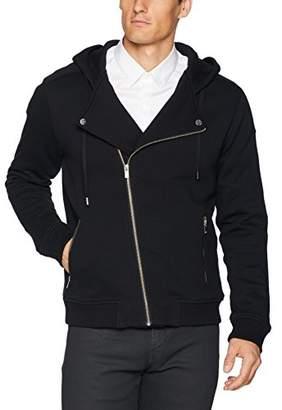The Kooples Men's Men's Soft Fleece Biker Sweatshirt with Asymmetrical Zipper