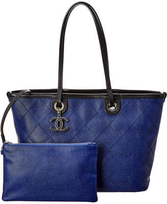Chanel Blue Quilted Caviar Leather Tote