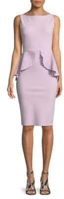 Chiara Boni Sleeveless Laser-Cut Peplum Dress