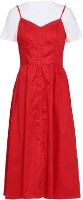 Maje Rimana Layered Stretch-modal Jersey And Cotton-poplin Midi Dress