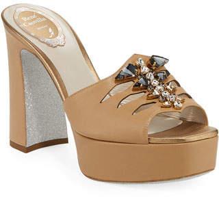 Rene Caovilla Embellished Leather Platform Slide Sandals