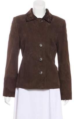 Akris Button-Up Leather Jacket