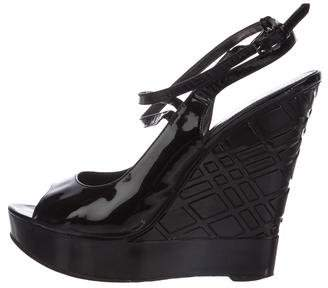 Burberry Patent Leather Peep-Toe Wedges
