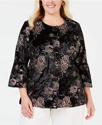 JM Collection Plus Size Embroidered Velvet Jacket